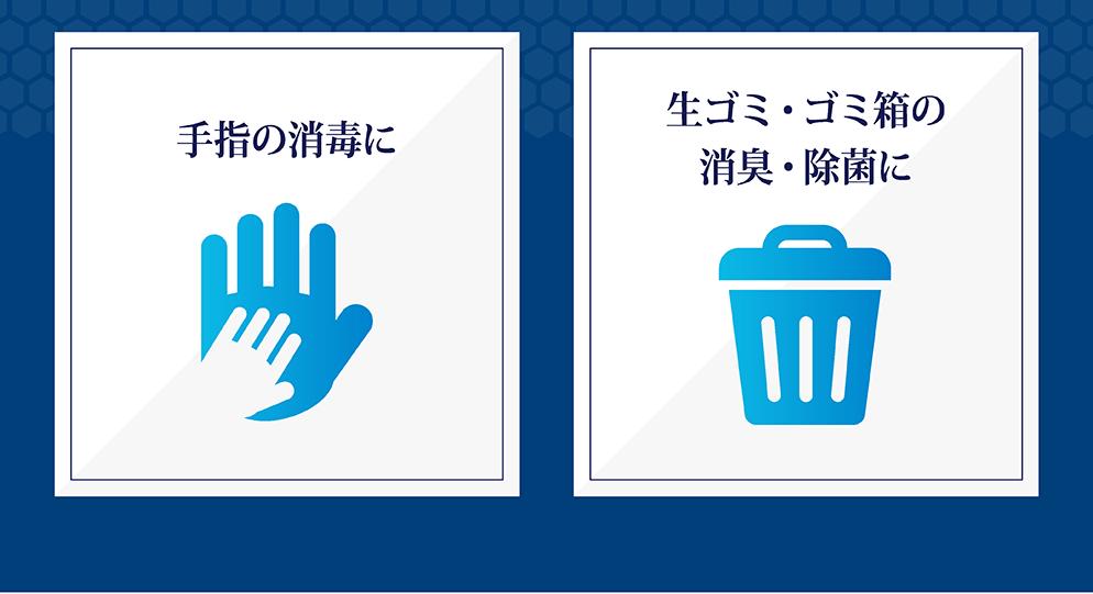 手指の消毒に 生ゴミ・ゴミ箱の消臭・除菌に